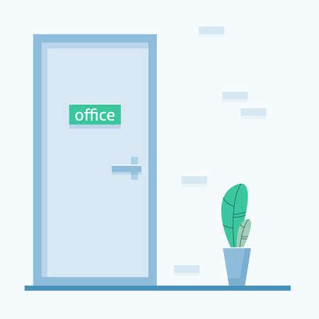 Office door. Flat style . Vector illustration