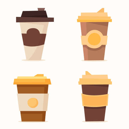 Set of coffee cup. Disposable plastic and paper cup mockup. Flat cartoon. Vector illustration