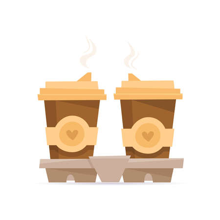 Two cups of coffee in holder. Flat cartoon. Vector illustration