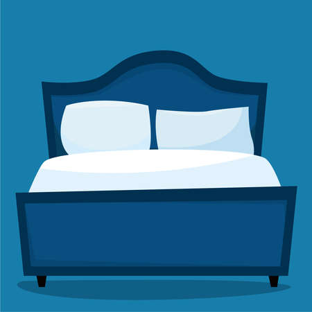 Bedroom with furniture night. Flat style. Vector illustration