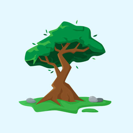 Green tree in flat cartoon style. Vector illustration. Vector illustration Illusztráció