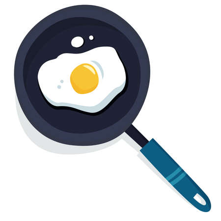 Pan with eggs . Flat cartoon style vector illustration.