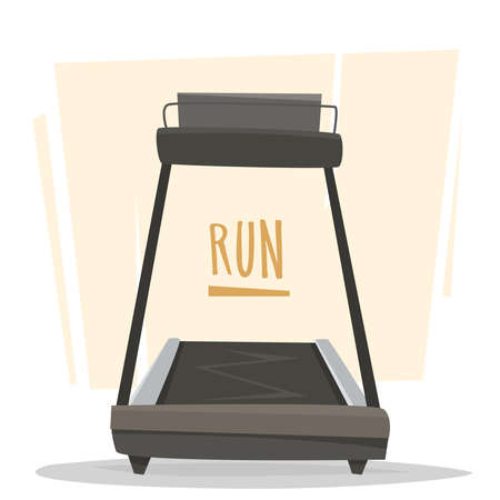 Running treadmill in gym. Flat cartoon style vector illustration. Illusztráció