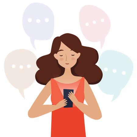 Woman with mobile phone read messages. Flat style vector illustration. Illusztráció