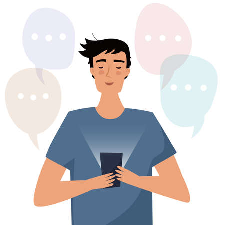 Man with mobile phone read messages. Flat style vector illustration.