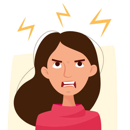 Angry negative woman. Cartoon flat. Vector illustration Illusztráció