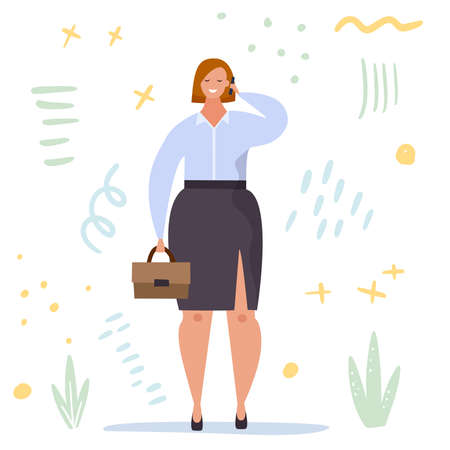 Body positive. Love your body. Happy plus size woman with mobile and active lifestyle. Flat cartoon . Vector illustration