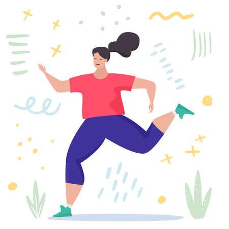 Running woman. Cartoon flat. Vector illustration
