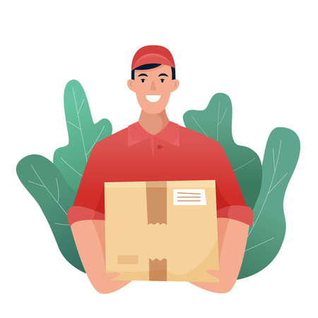 Delivery man with box . Flat cartoon . Vector illustration Illusztráció