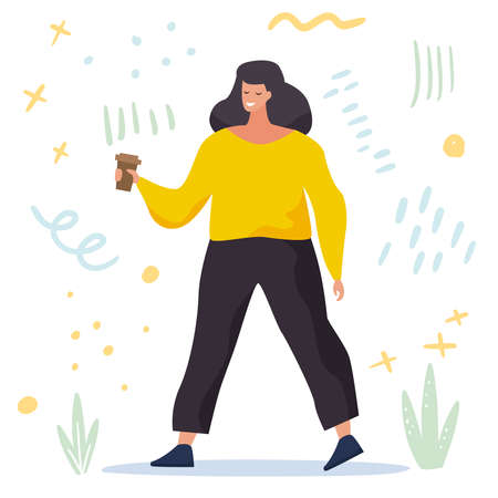 Body positive. Love your body. Happy plus size woman with coffee and active lifestyle. Flat cartoon . Vector illustration