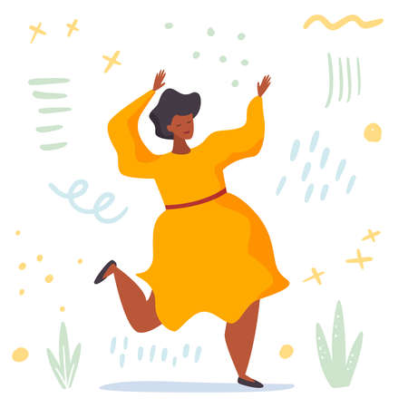 Body positive. Love your body. Happy plus size woman dance and active lifestyle. Flat cartoon. Vector illustration