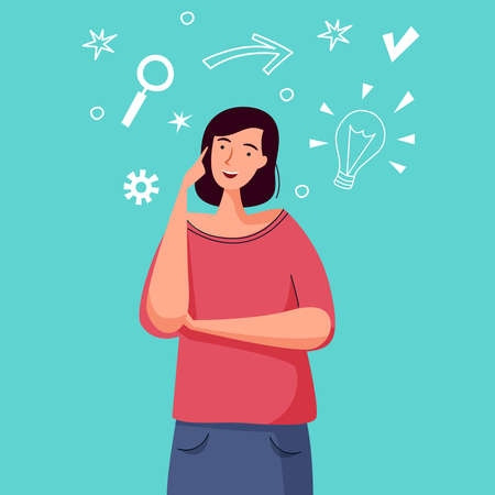 Woman thinking and has idea. Flat cartoon. Vector illustration