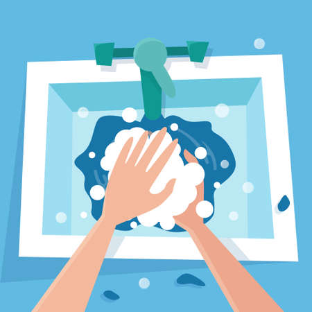 Wash hand with soap in sink. Quarantine disinfection. Hygiene for corona virus prevention. Flat cartoon style vector illustration. Vector illustration Illusztráció