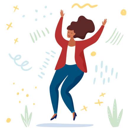 Body positive. Love your body. Happy plus size woman jumping and active lifestyle. Flat cartoon . Vector illustration Illusztráció