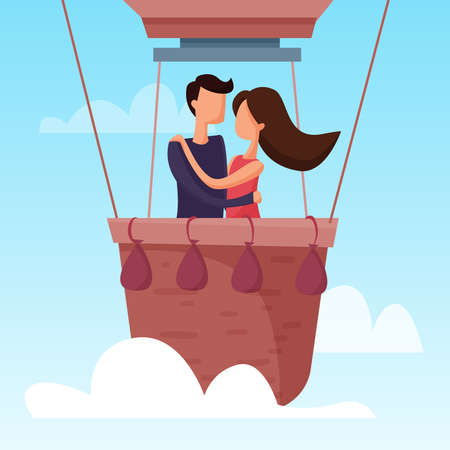 Love couple flying on balloon in the sky. Romantic date. Flat cartoon . Vector illustration