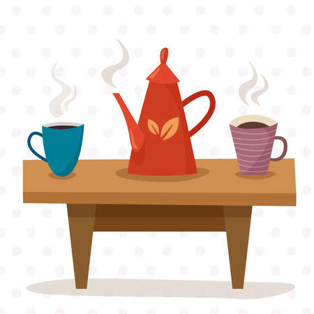 Table with breakfast. Teapot and cup of tea. Flat cartoon style vector illustration. Illusztráció