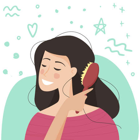 Young woman brushing healthy hair. Brush in hand. Flat cartoon. Vector illustration
