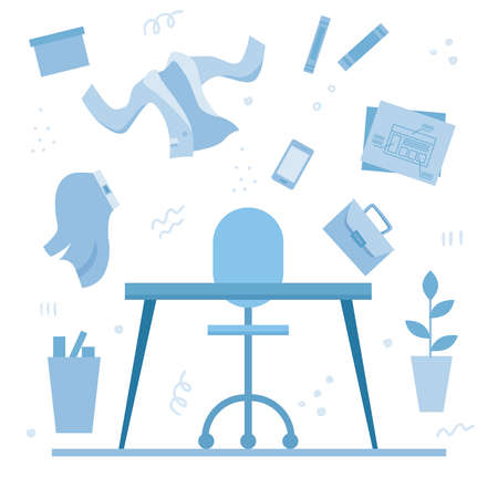 Table in office concept. Flat. Vector illustration