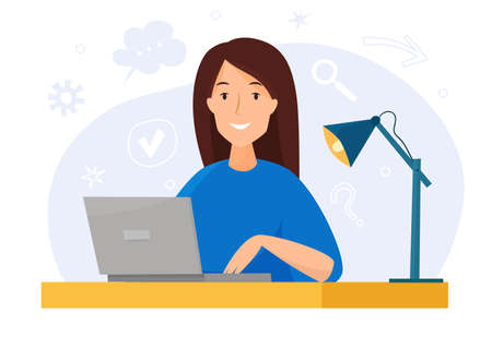Woman work at computer in office. Flat cartoon . Vector illustration