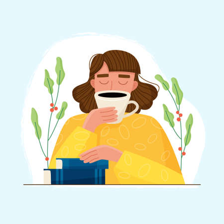 Woman with book and coffee cup. Flat cartoon. Vector illustration Illusztráció