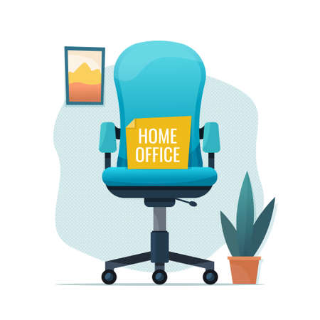 Home office chair. Freelance or studying concept. Flat cartoon. Vector illustration