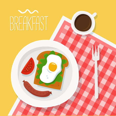 Breakfast with toast, eggs and coffee on plate. Flat. Vector illustration