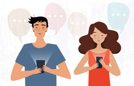 Man and woman with mobile phone read messages. Flat style. Vector illustration