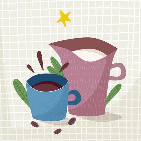 Cup of tea and milk. Vector illustration Illusztráció