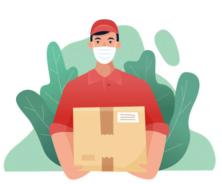 Delivery man with box during the prevention of coronovirus, Covid-19. Courier in a face mask with food. Safety home delivery. Flat cartoon . Vector illustration Illusztráció