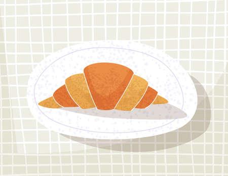 Croissant on a plate. . Vector illustration Illusztráció