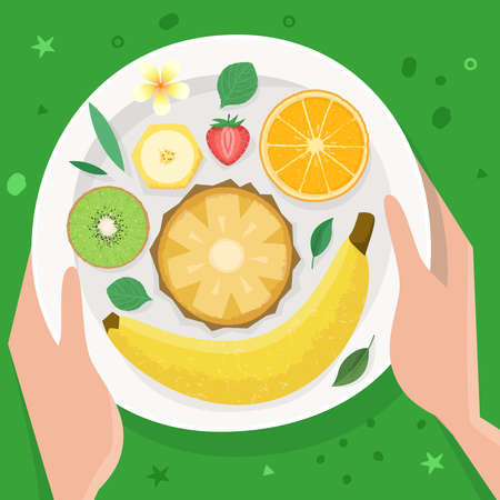 Plate with fruits. Healthy eating. Flat. Vector illustration