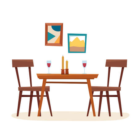 Dining table in kitchen with chairs, cups and teapot. Window with curtain. Flat cartoon style vector illustration. Vector illustration