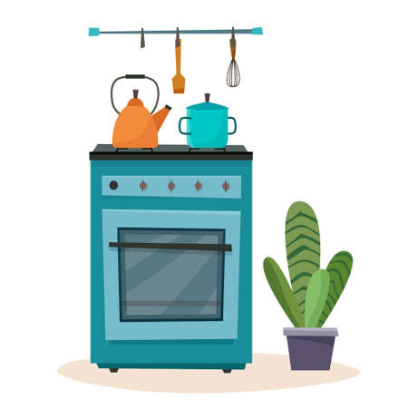 Stove in kitchen. Oven with dishes. Vector illustration.