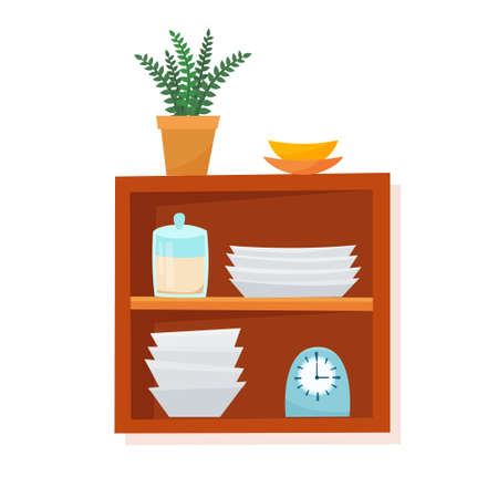 Kitchen equipment and tools on shelf. Flat style vector illustration.