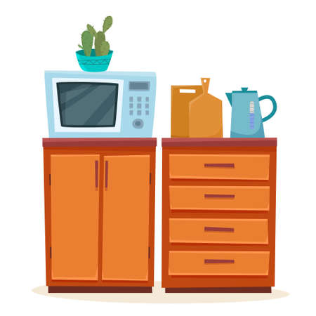 kitchen furniture with microwave. Teapot on cabinet. Vector illustration