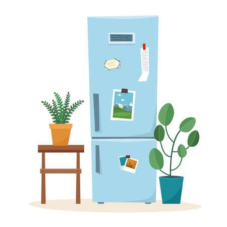 Kitchen fridge. Open refrigerator with food. Flat style vector illustration. Vector illustration Illusztráció