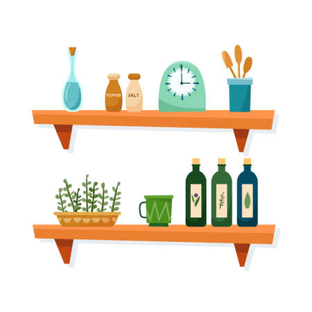 Kithcen shelves with art equipment and tools. Flat style vector illustration.