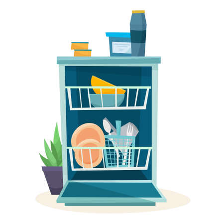 Open dishwasher with clean dishes. Vector illustration