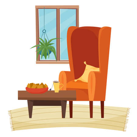 Chair in livingroom with table and food. Vector illustration Illusztráció
