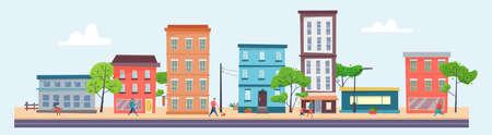 Building houses in city street, town view background. Illusztráció