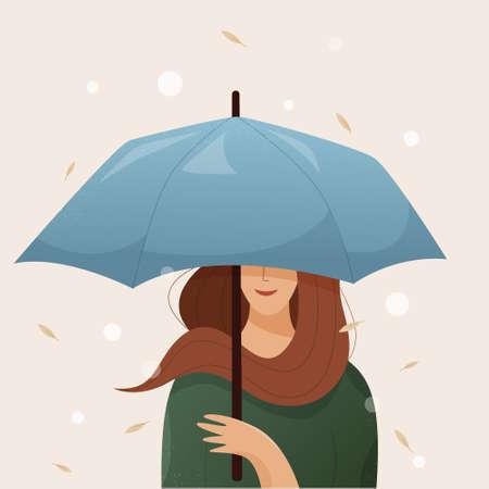 Girl with umbrella. A woman under an umbrella in autumn. Vector flat illustration Illusztráció