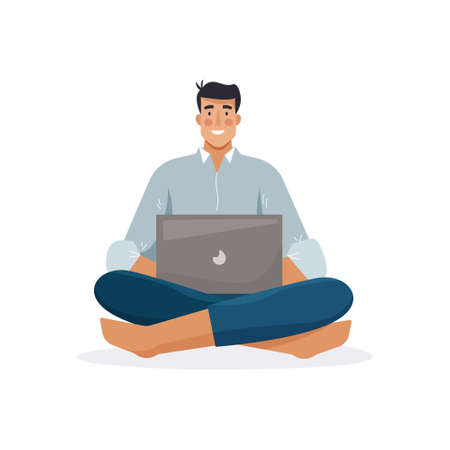 Man work with computer. Freelancer with laptop. Flat cartoon style. Vector illustration