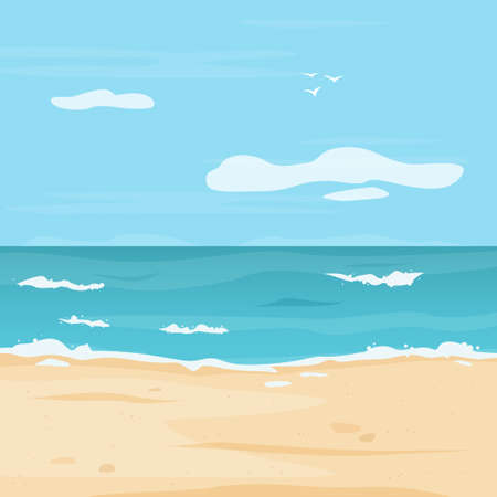 Tropical beach with sea. Background with ocean, clouds and sand. Flat style vector illustration