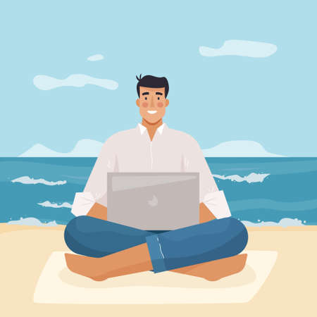 Man with computer work on beach. Freelancer with laptop. Flat cartoon style . Vector illustration