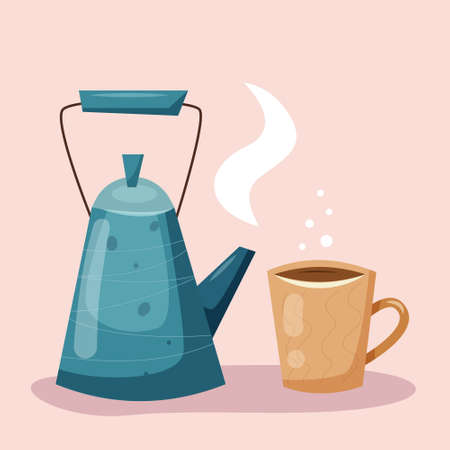 Kettle with cup of coffee. Teapot with tea. Flat style. Vector illustration