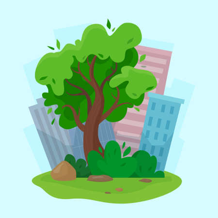City park tree concept with skyscrapers background. Flat style illustration.