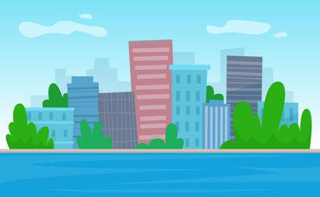 City river with skyscrapers background. Flat style illustration. Illusztráció