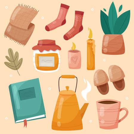 Cozy hygge autumn and winter elements set. Scandinavian cute decorations and stickers. Flat style. Vector illustration Illusztráció