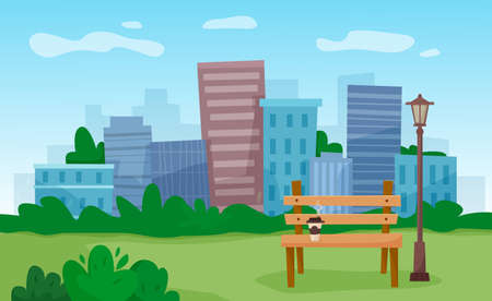 Bench in city park with skyscrapers background. Vector illustration