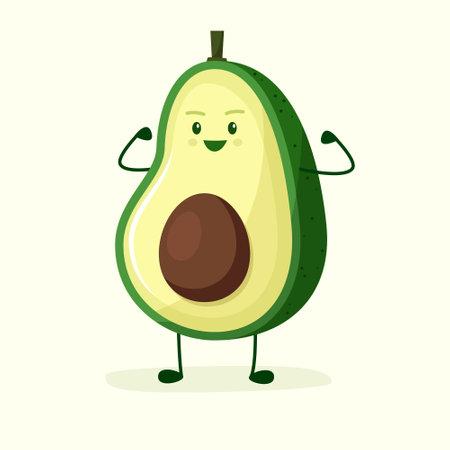 Avocado character strong champion. Flat style. Vector illustration Illusztráció